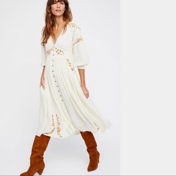 b52c446ca56b Free People Dresses | Day Glow Embroidered Midi Dress Nwt | Poshmark